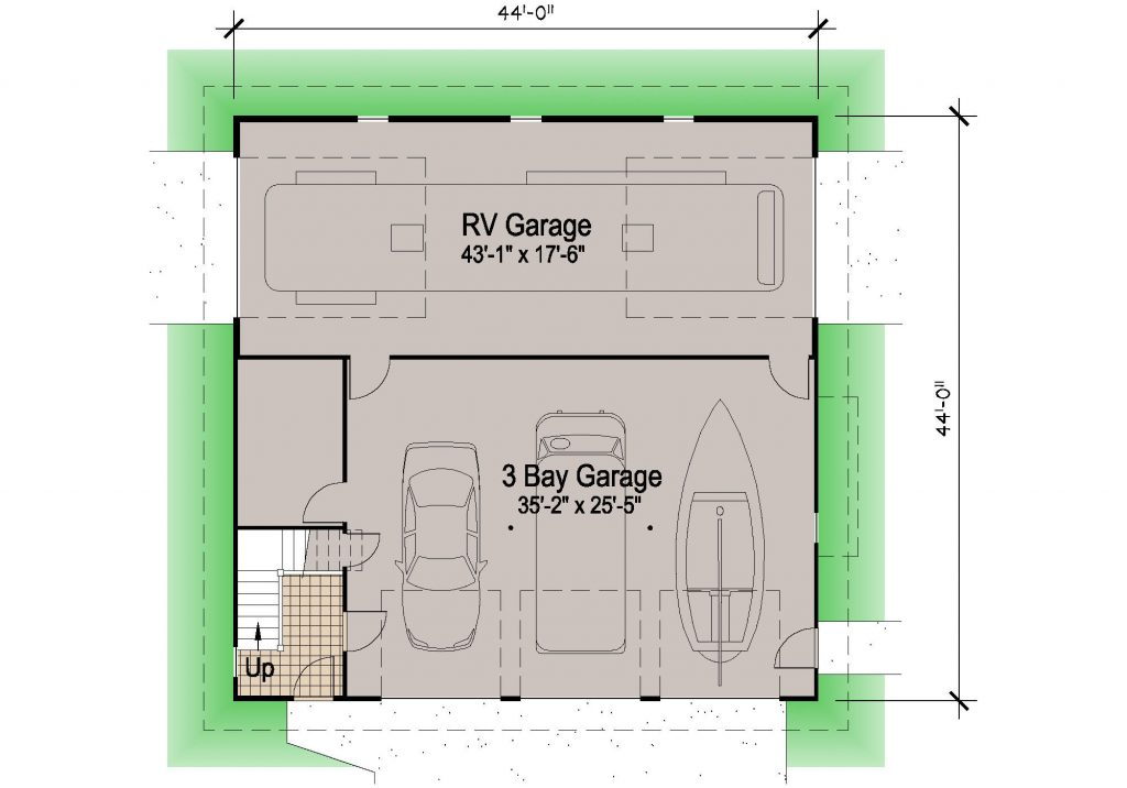 Shingle rv garage 39 39 motor home southern cottages for Garage floor design