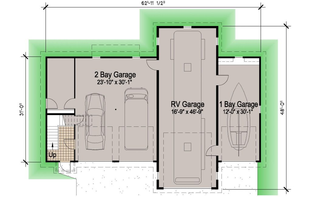 Island rv garage 45 39 motor home southern cottages for Garage apartment plans southern living