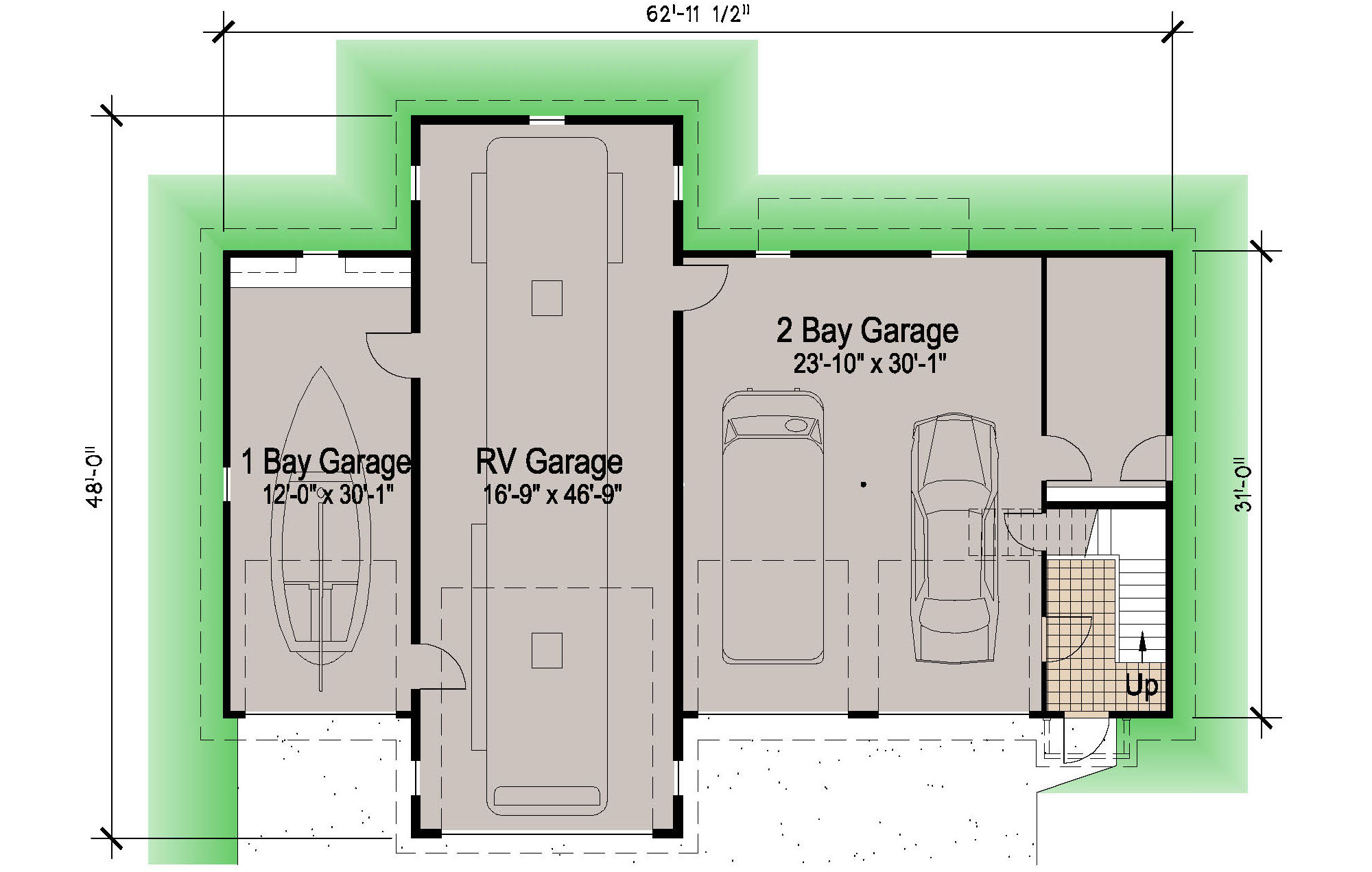 Island rv garage 45 39 motor home southern cottages for Garage house floor plans
