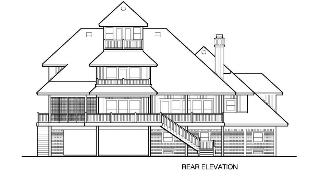 001 - Grand Peaks-3848-Pile-4Car-Elevator - 6 - Rear Elevation
