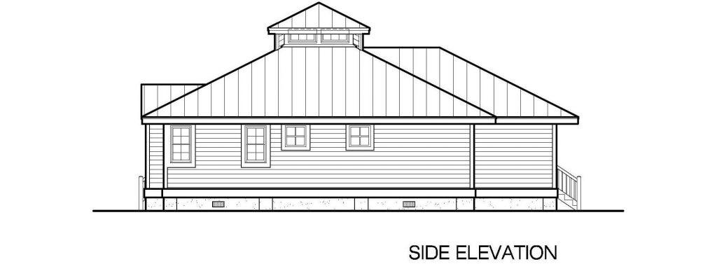 001 - Hip-1260-2Bdrm-Porches - 3 - Side Elevation