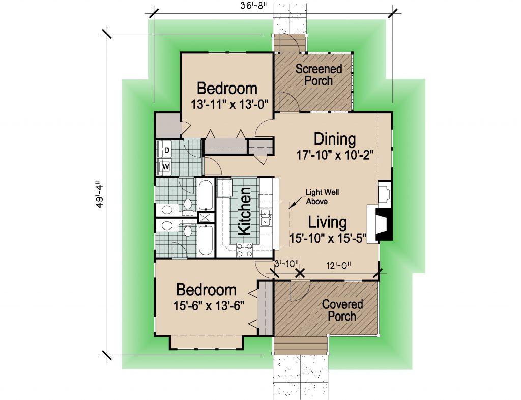 001 - Hip-1260-2Bdrm-Porches - REV - 1 - Floor Plan