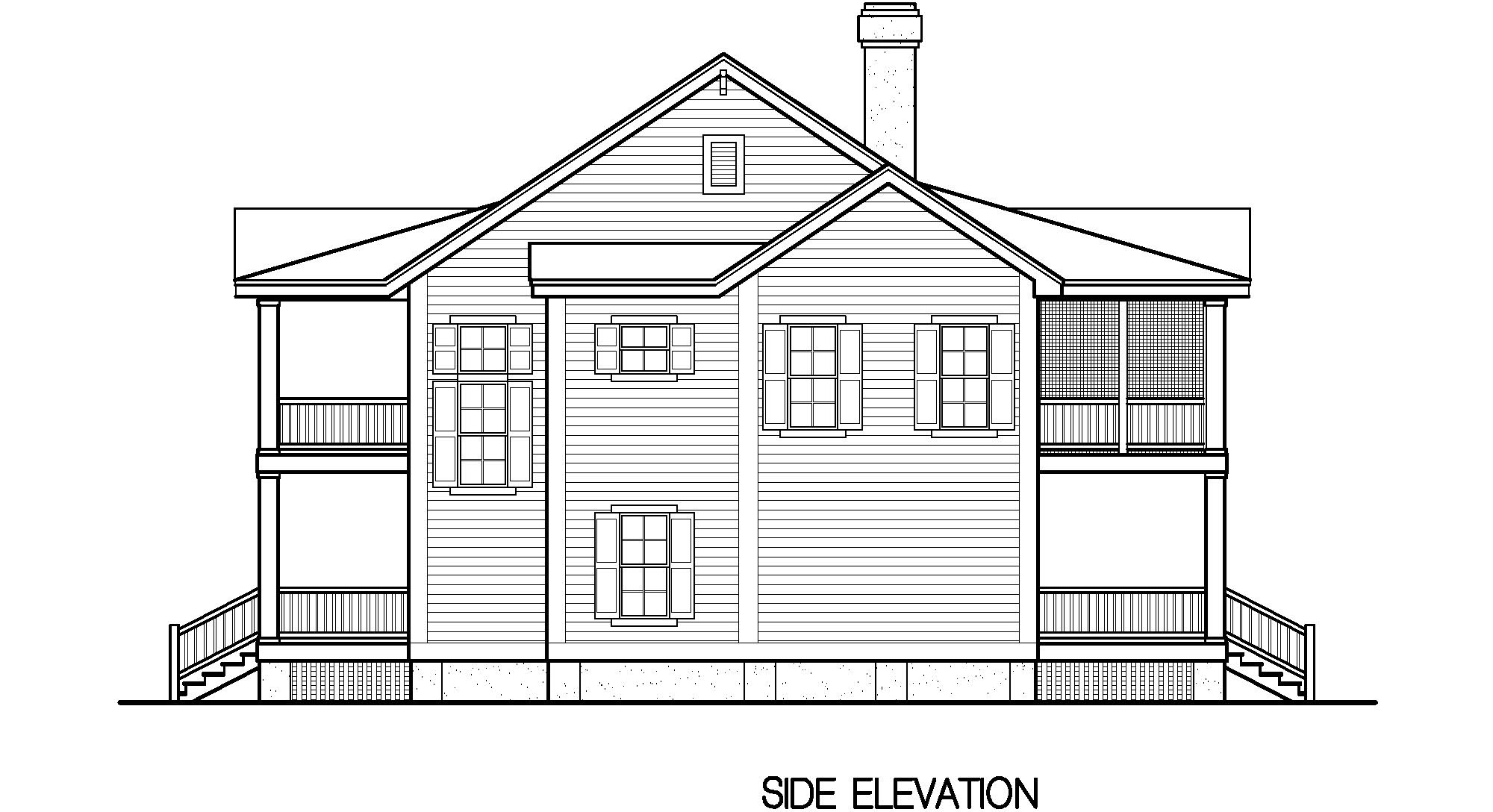 Porches cottage standard crawlspace foundation 2241 sf for Inverted beach house plans