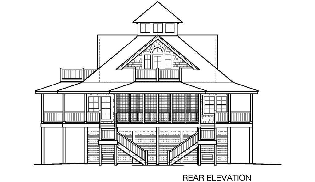 002 - Island-2058-Pile-Frt-Ent - 6 - Rear Elevation