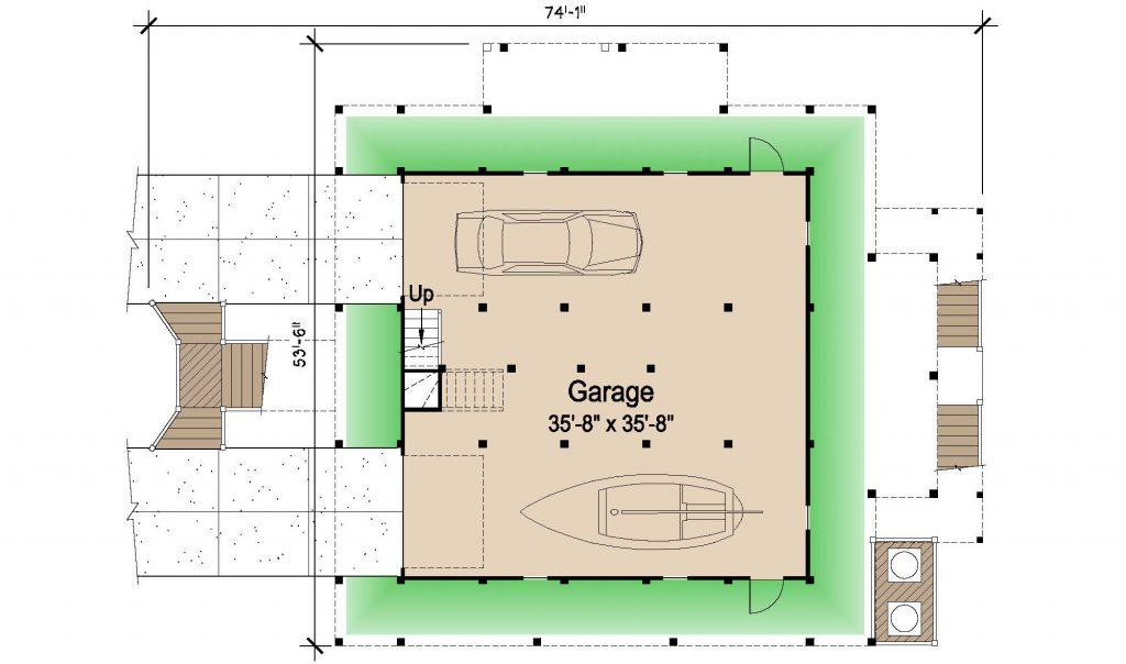 002 - Island-2058-Pile-Frt-Ent - REV - 1 - Ground Floor