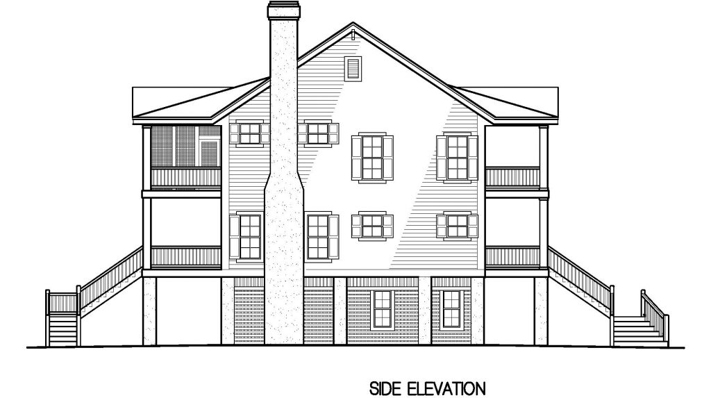 002 - Porches-Pile-4Bdrm-Side-Ent - 7 - Side Elevation