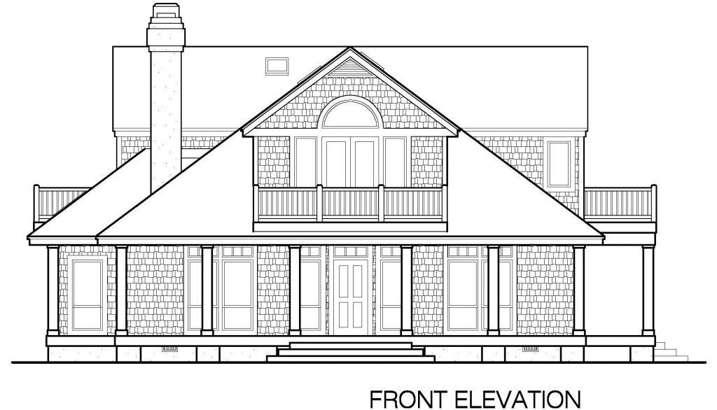 002 - Shingle Balcony - 3 - Front Elevation