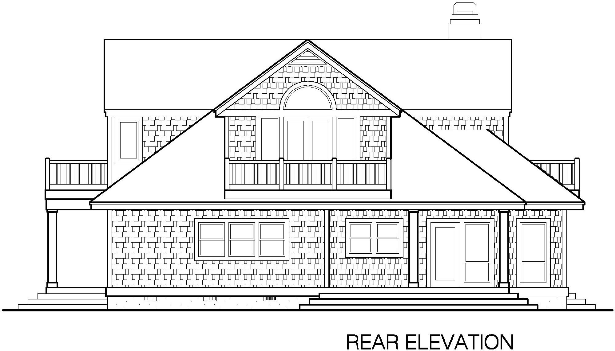 Shingle cottage balcony option 2780 sf southern cottages for What is rear elevation