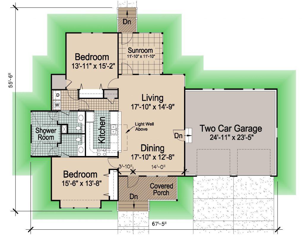 003 - Hip-1545-2Bdrm-Gar - REV - 1 - Floor Plan