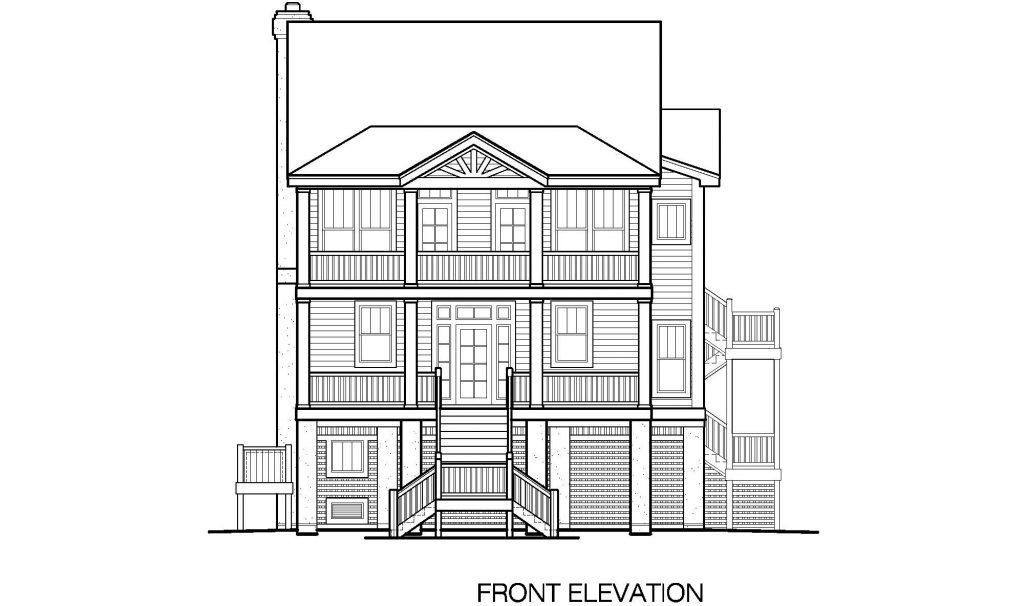 003 - Porches-2395-Pile-3Bdrm-Elev-Sid-Ent - 4 - Front Elevation