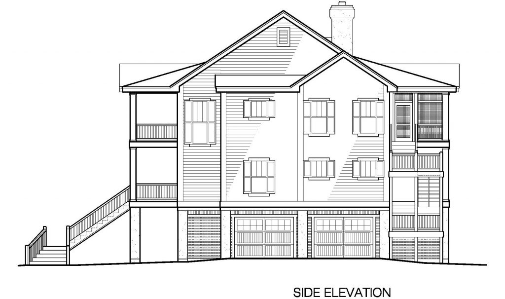 003 - Porches-2395-Pile-3Bdrm-Elev-Sid-Ent - 5 - Side Elevation