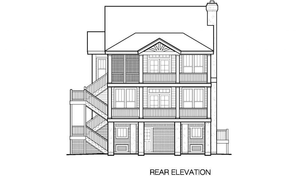 003 - Porches-2395-Pile-3Bdrm-Elev-Sid-Ent - 6 - Rear Elevation