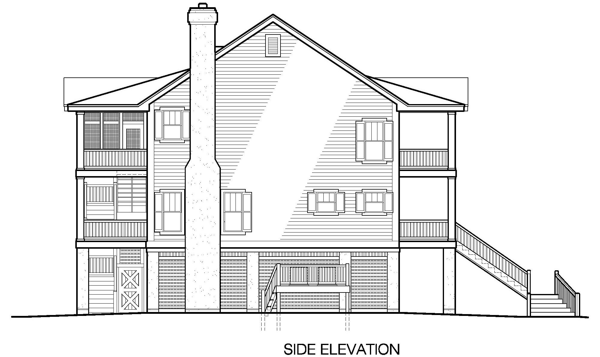 Porches Cottage Piling Foundation Side Entrance Garage Elevator 2395 Sf Southern Cottages