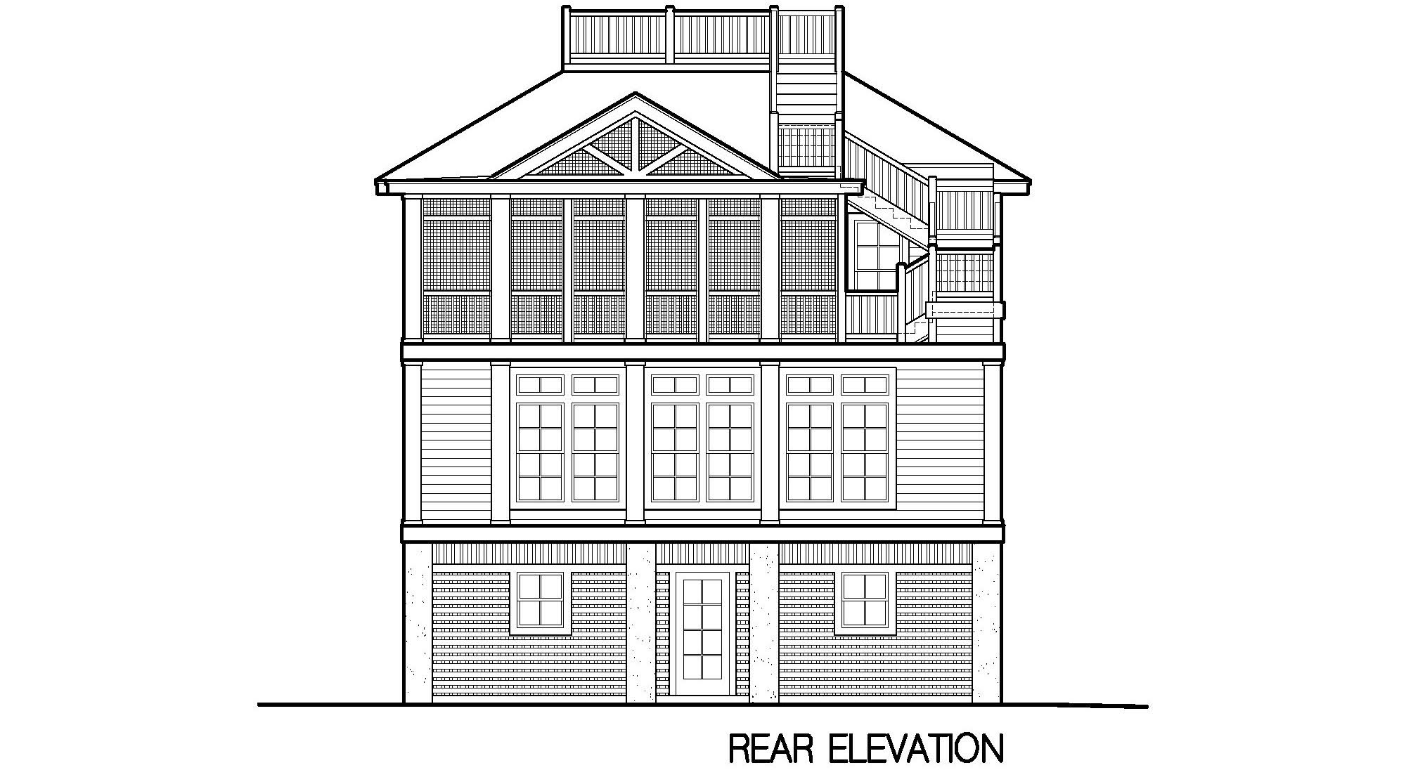 Porches cottage piling foundation roof deck 2900 sf Elevator home plans