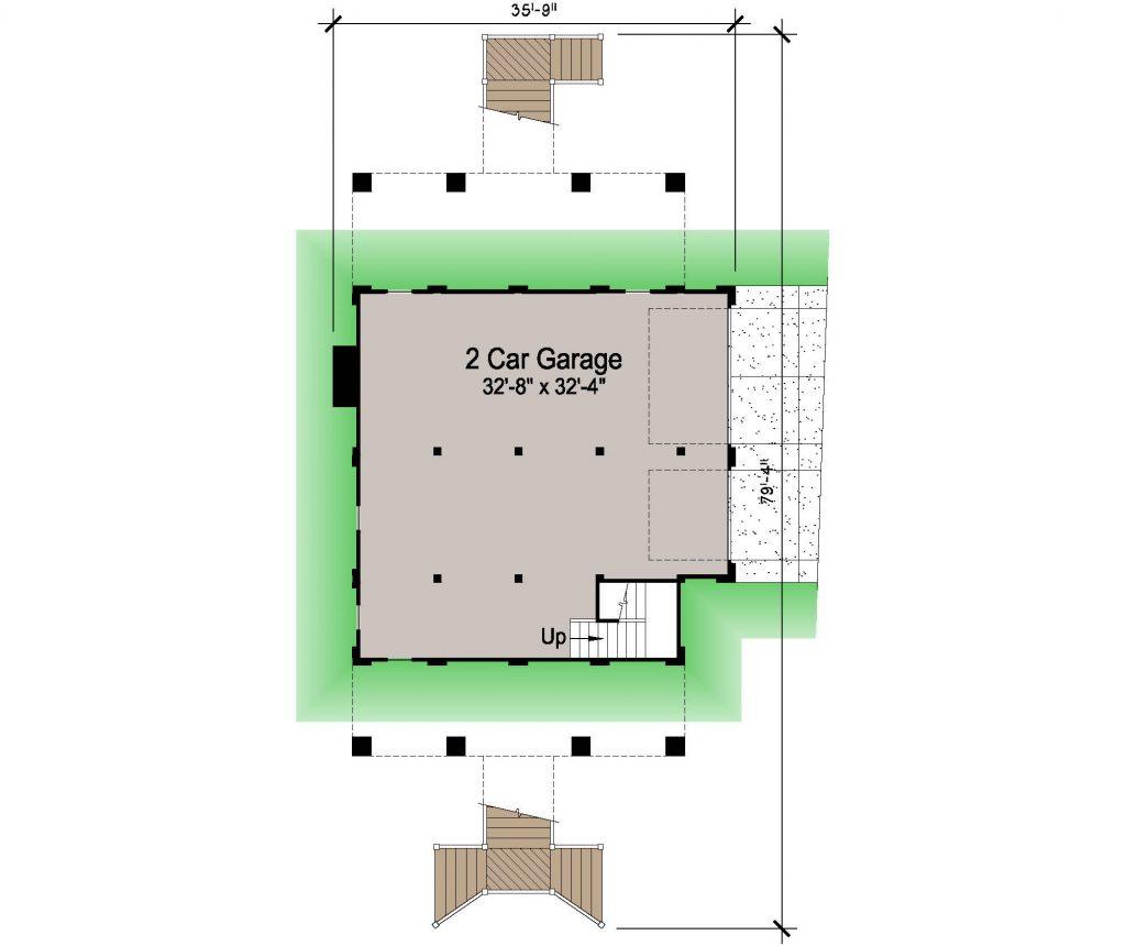 005 - Porches-Pile-3Bdrm-Side-Ent - 1 - Ground Floor