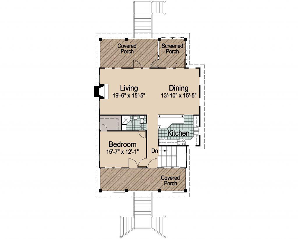 005 - Porches-Pile-3Bdrm-Side-Ent - 3 - Second Floor