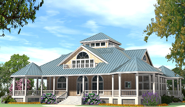 Grand gazebo cottage 4425 sf southern cottages for House plans with gazebo porch