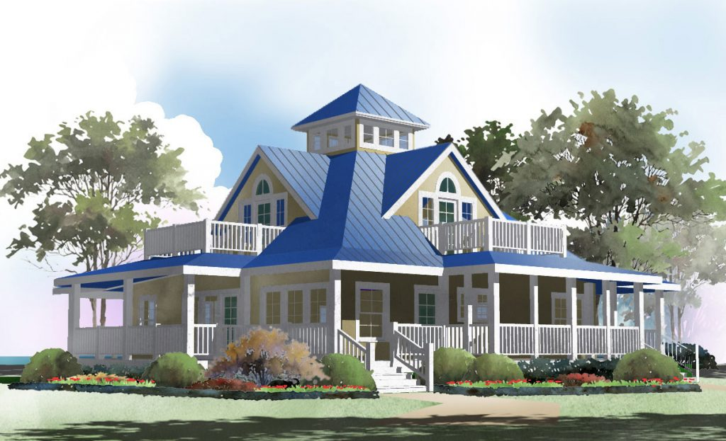 Island cottage crawlspace foundation 2058 sf southern for Beach house plans with decks