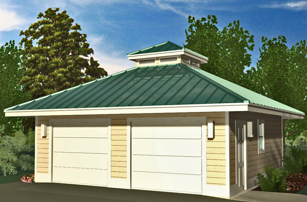 Hip garage with cupola 576 sf southern cottages for Hip roof garage