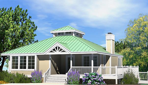 Hip Cottage Basement Foundation Front Right