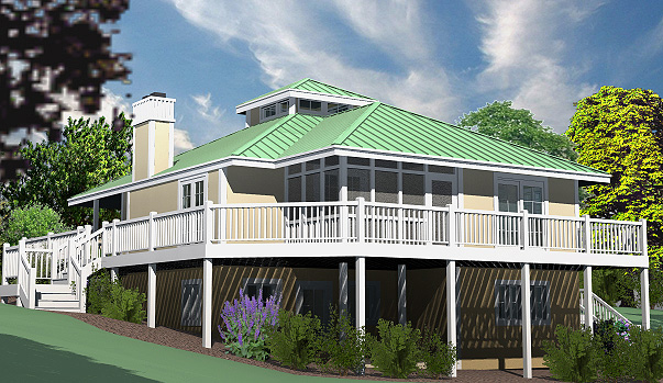 Hip Cottage Basement Foundation Rear Left
