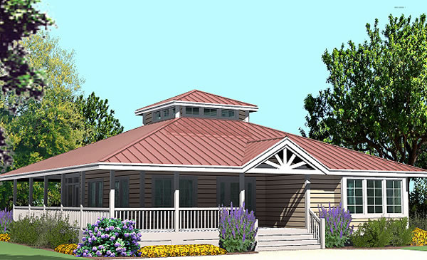 Hip cottage with wrap around porch 1423 sf southern for Beach house plans with hip roof
