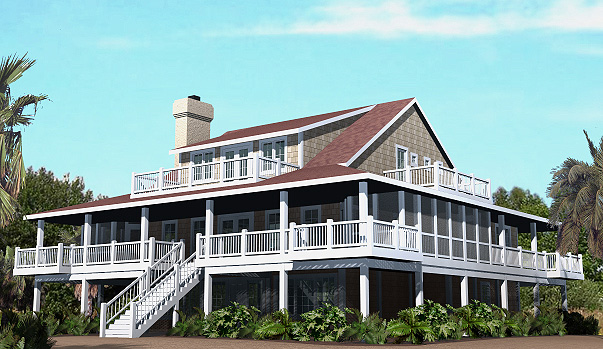 Nags head cottage piling foundation 3161 sf southern for Waterfront house plans on pilings