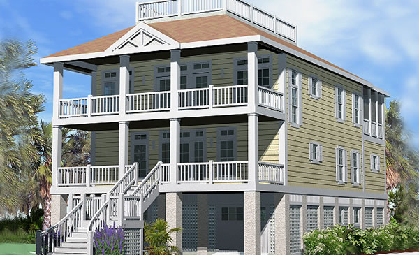 Porches cottage piling foundation roof deck 2900 sf for Waterfront house plans on pilings