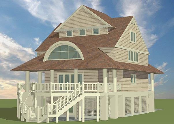 Winds Cottage Piling Foundation Gable Roof Dormer Rear Left