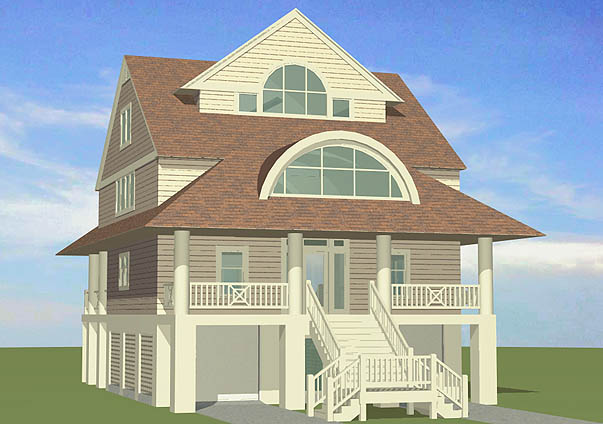 Winds cottage with gable roof dormers 3143 sf southern for Piling home designs