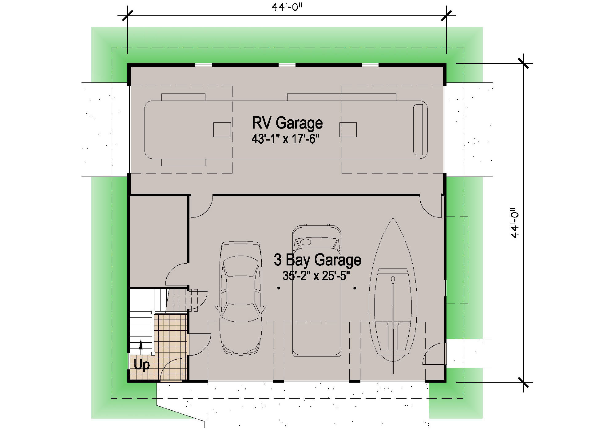 Shingle rv garage 39 39 motor home southern cottages for Garage apartment plans southern living