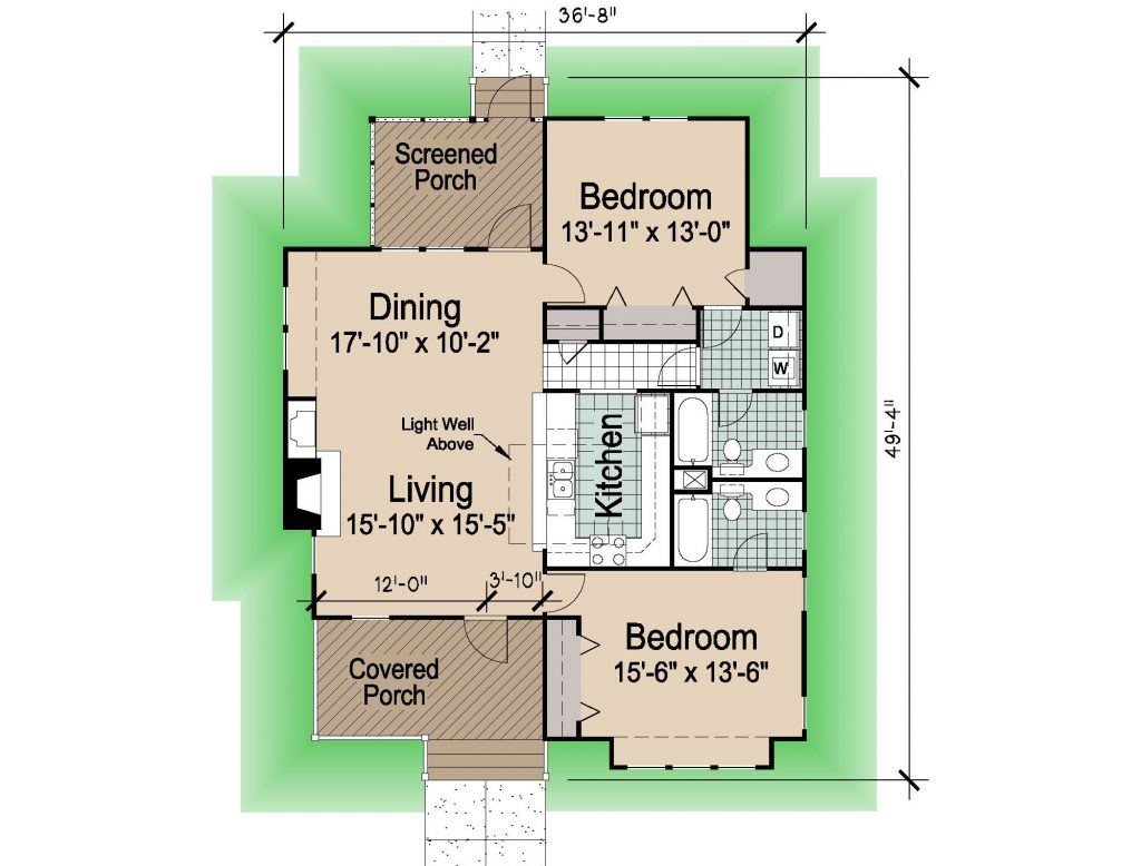 001 - Hip-1260-2Bdrm-Porches - 1 - Floor Plan