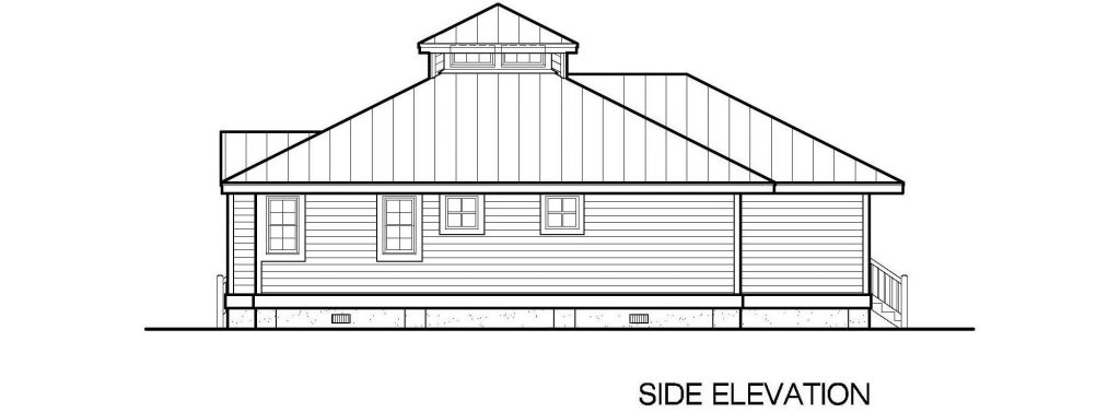 001 - Hip-1260-2Bdrm-Porches - 3 - Side Elevation