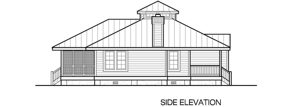 001 - Hip-1260-2Bdrm-Porches - 5 - Side Elevation