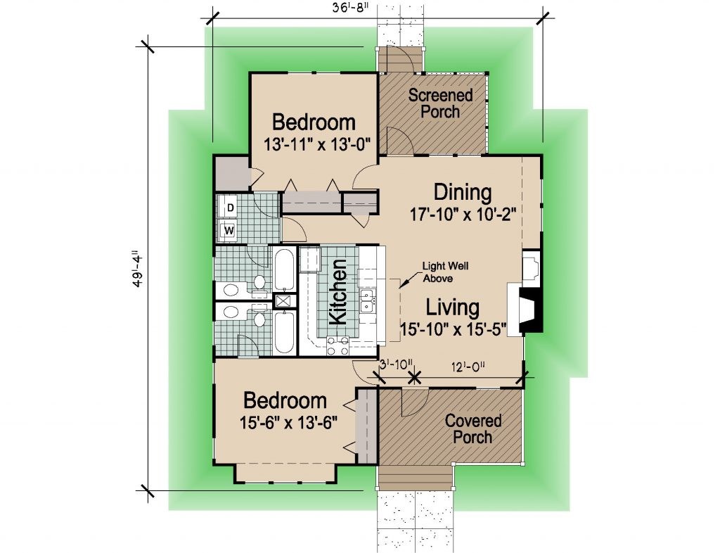 001 - Hip-1260-2Bdrm-Porches - REV - 1 - Floor Plan