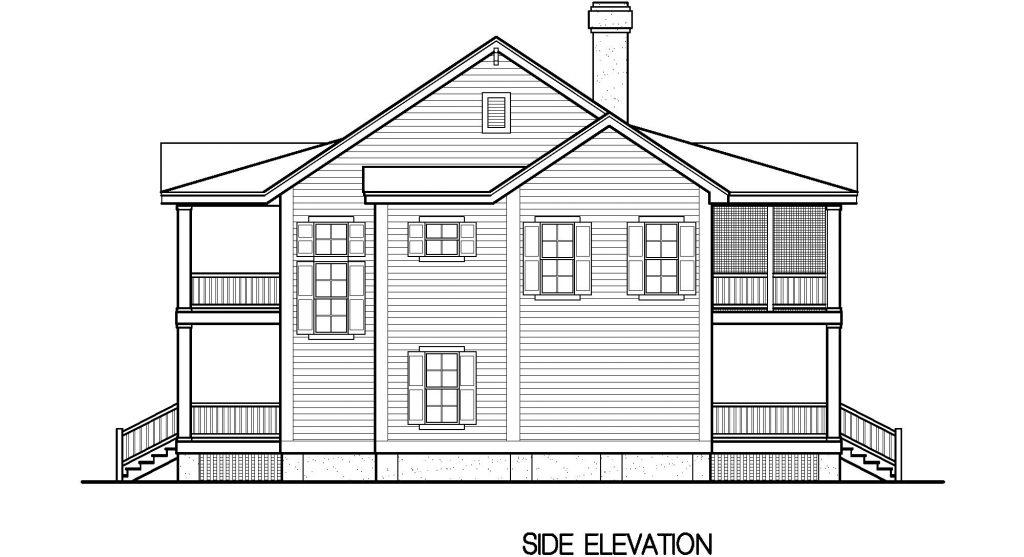 001 - Porches-Crlspace-3Bdrm - 4 - Side Elevation
