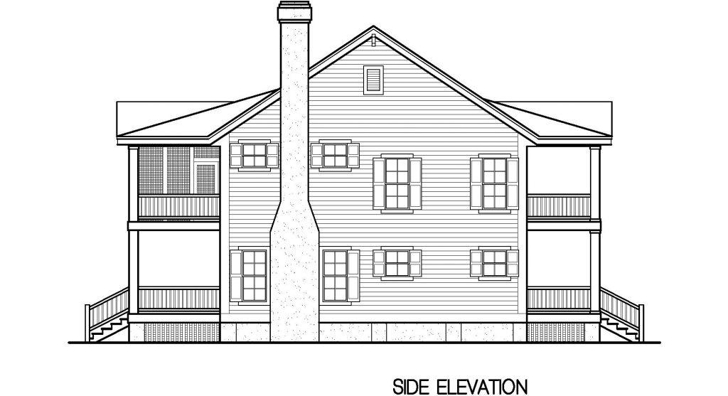 001 - Porches-Crlspace-3Bdrm - 6 - Side Elevation
