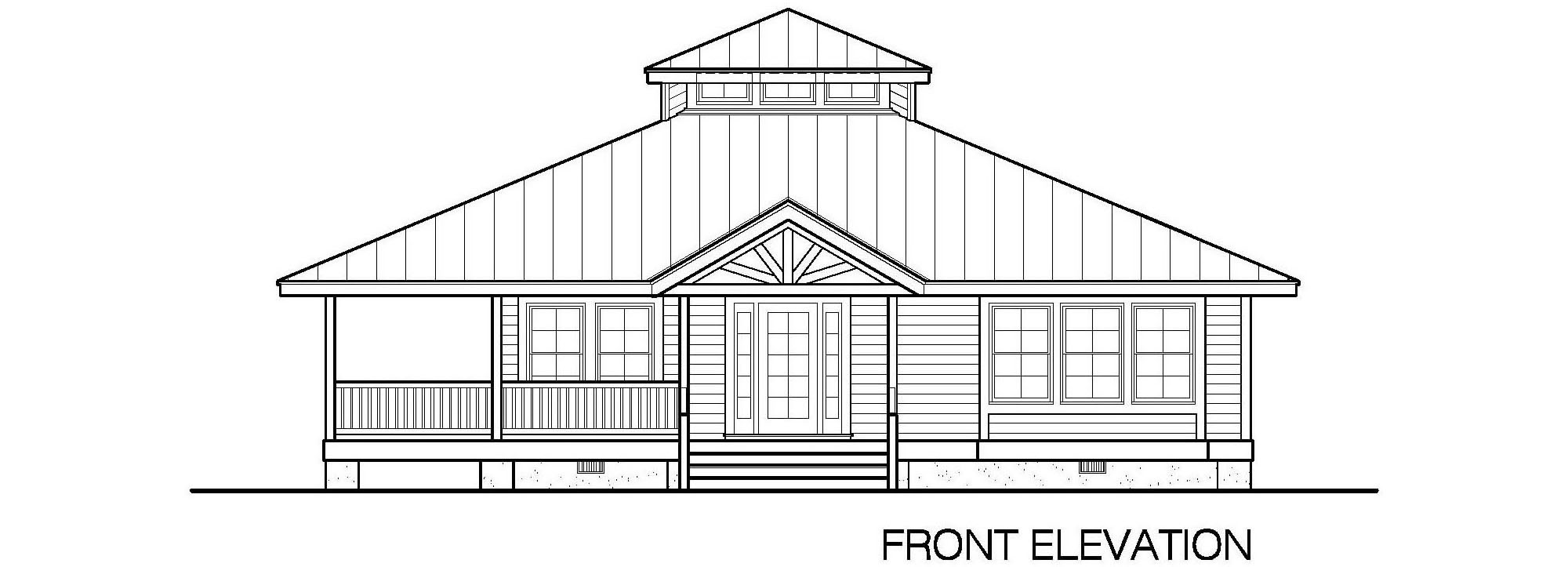 002-Hip-1423-2Bdrm-WAP-2-Front-Elevation Small Southern Home Plans With Separate Garage on home plans with carport, home plans with fireplace, home plans with porches detached garages, home plans with family room, home plans with laundry, home plans with 4 bedrooms, home plans with conservatory, home plans with den, home plans with barn,