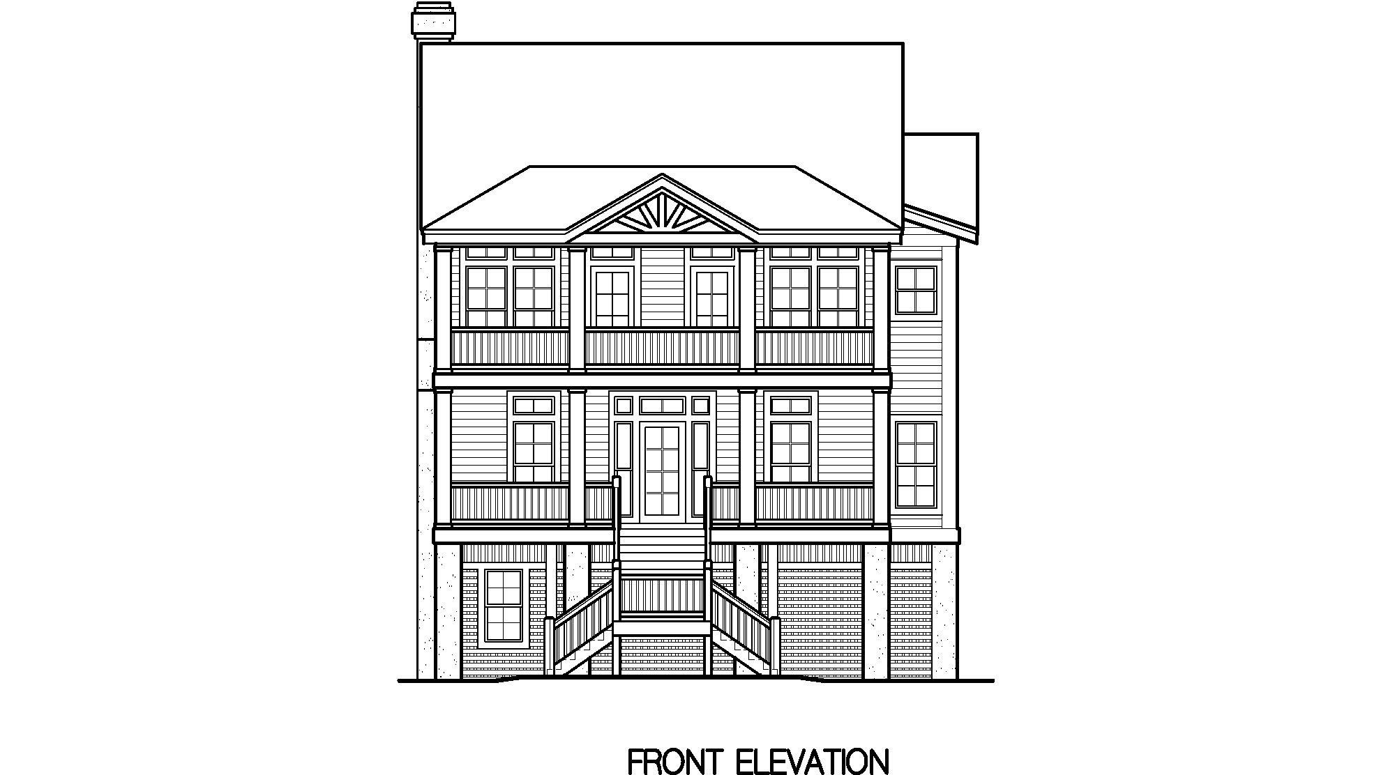 Front Elevation Side Elevation : Porches cottage standard piling foundation with side