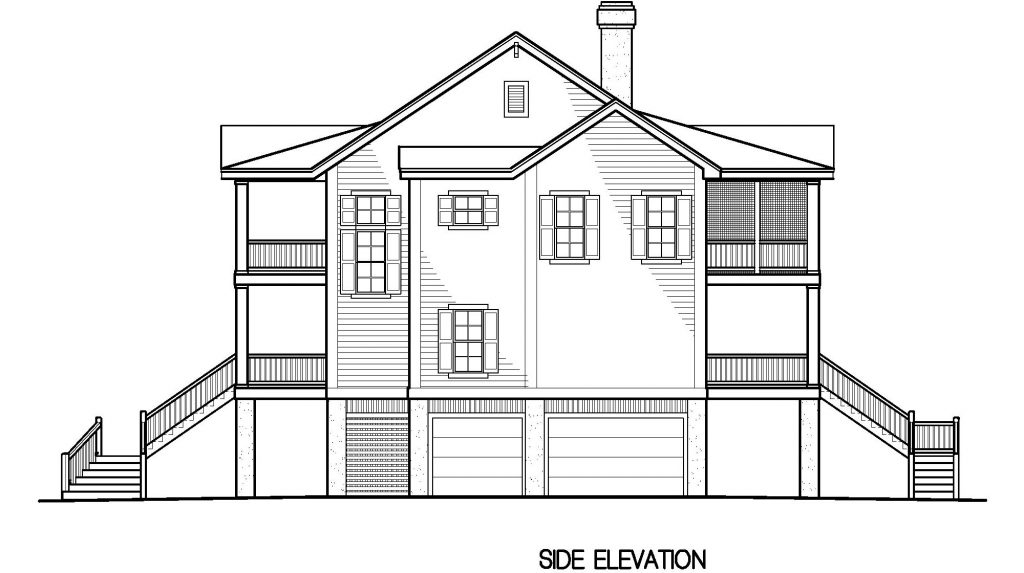 002 - Porches-Pile-4Bdrm-Side-Ent - 5 - Side Elevation