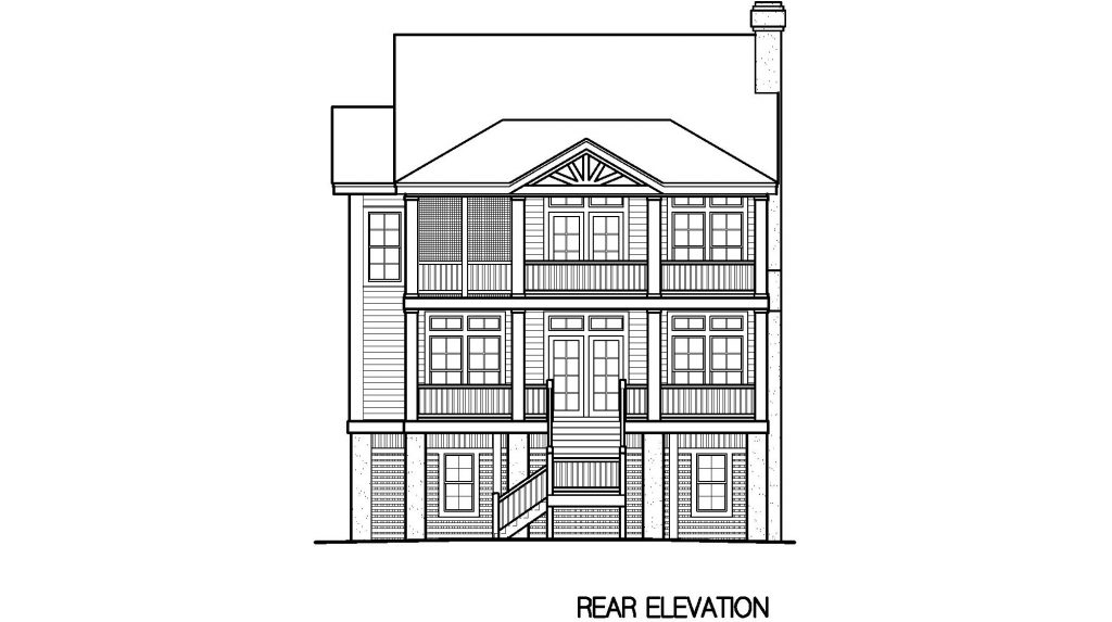 002 - Porches-Pile-4Bdrm-Side-Ent - 6 - Rear Elevation