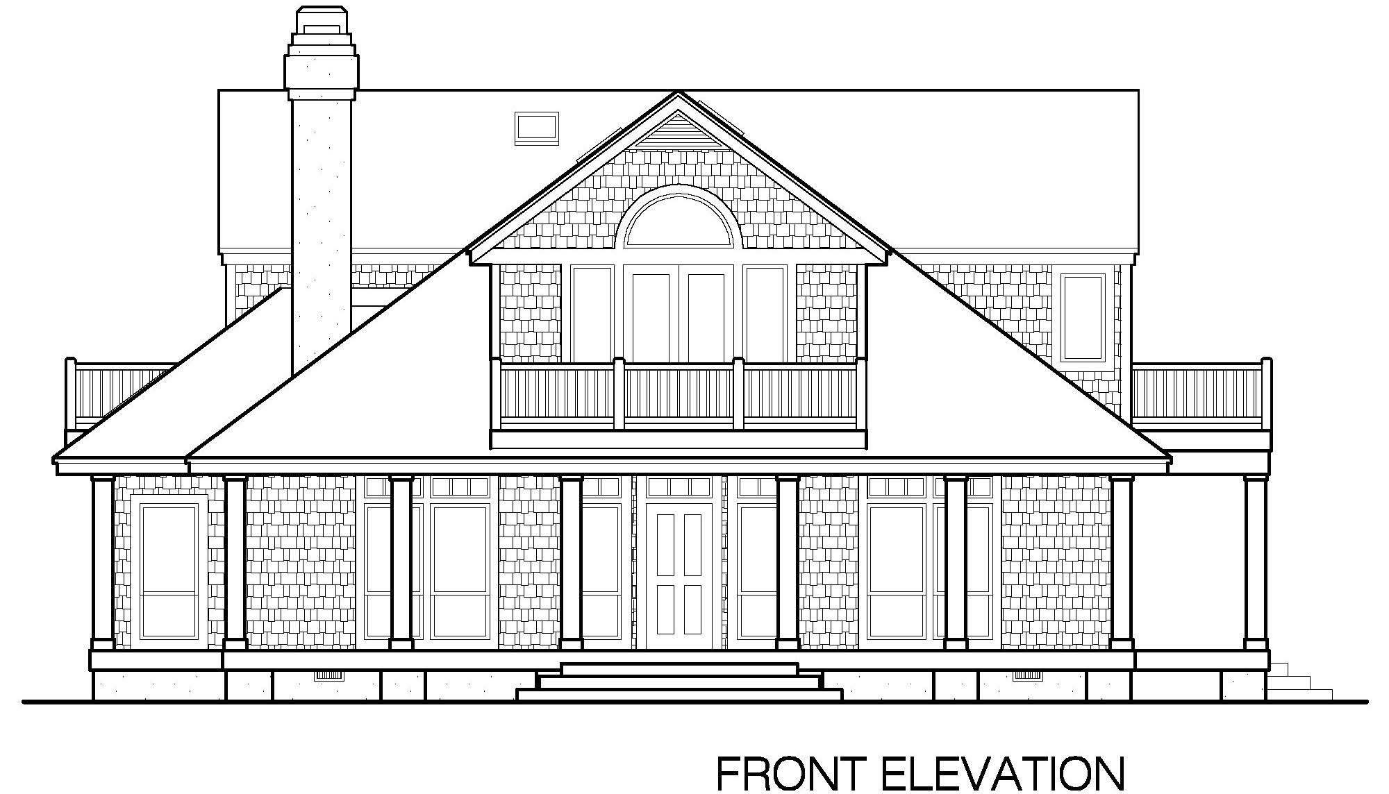 Front Elevation Without Balcony : Shingle cottage balcony option sf southern cottages