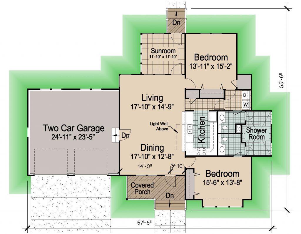 003 - Hip-1545-2Bdrm-Gar - 1 - Floor Plan