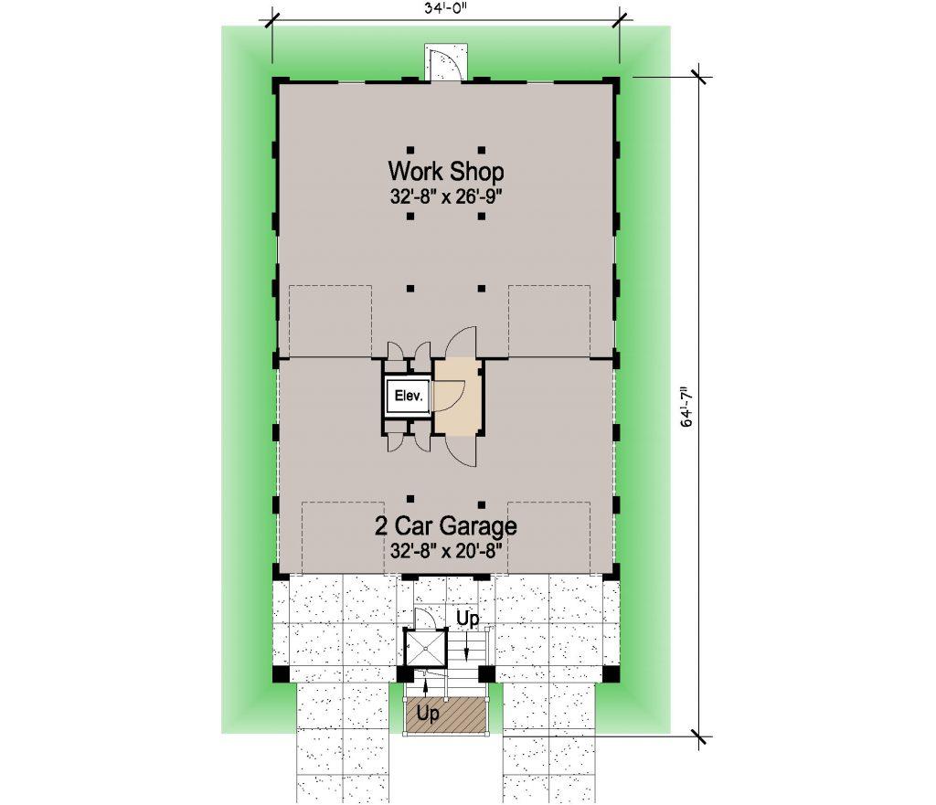 004 - Porches-Pile-Elevator-Roofdeck - 1 - Ground Floor
