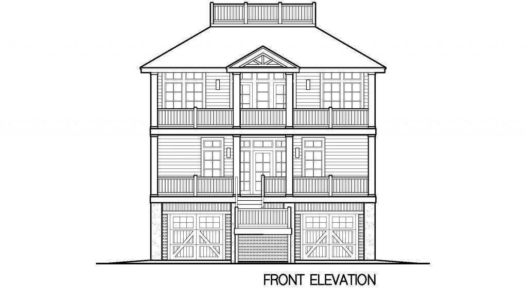 004 - Porches-Pile-Elevator-Roofdeck - 5 - Front Elevation
