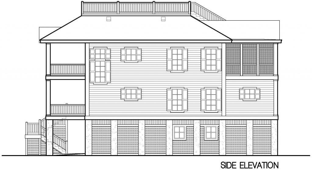 004 - Porches-Pile-Elevator-Roofdeck - 6 - Side Elevation