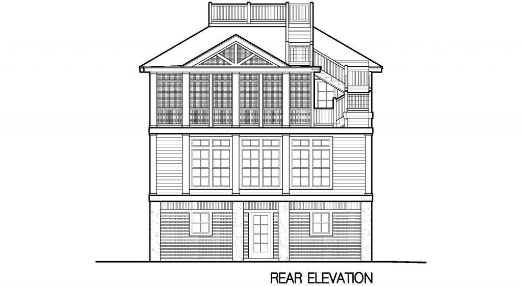 004 - Porches-Pile-Elevator-Roofdeck - 7 - Rear Elevation