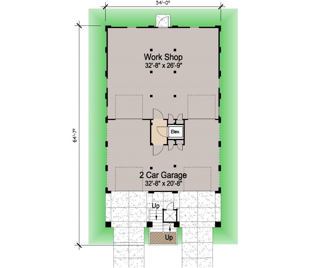 004 - Porches-Pile-Elevator-Roofdeck - REV - 1 - Ground Floor