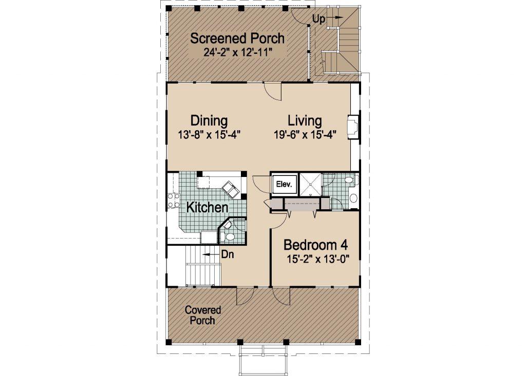 004 - Porches-Pile-Elevator-Roofdeck - REV - 3 - Second Floor