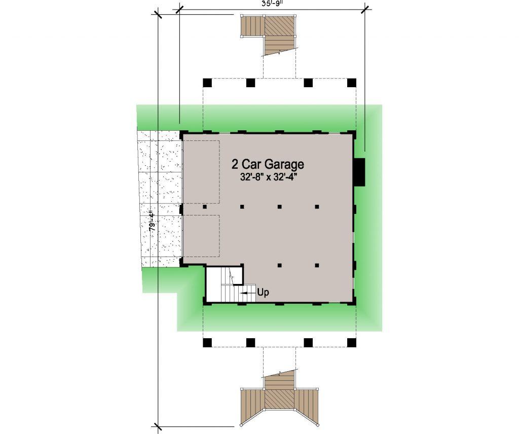 005 - Porches-Pile-3Bdrm-Side-Ent - REV - 1 - Ground Floor